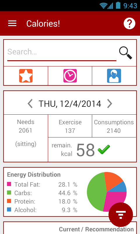 Calories! calorie counter- screenshot