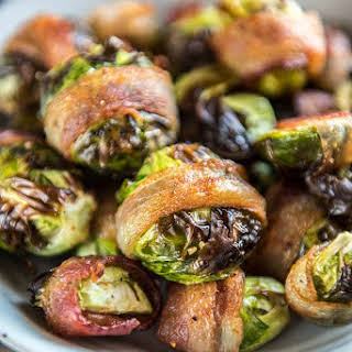Air Fryer Bacon Wrapped Brussels Sprouts.