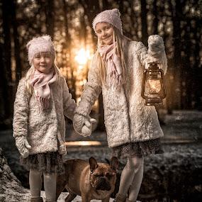 Fiends by Jan Kraft - Babies & Children Child Portraits ( bulldog, girls, oillamp, sisters, winter, park, vintage, sunset, snow, dog, light, norway )