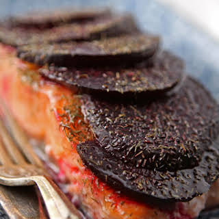 Baked Salmon Fillets With Beetroot And Dill.