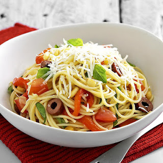 Roasted Pepper, Olive and Pine Nut Spaghetti