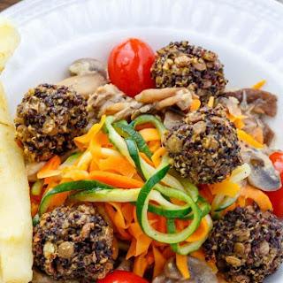 Lentil Meatballs Over Vegetable Noodles in a Basil-Mushroom Sauce Recipe