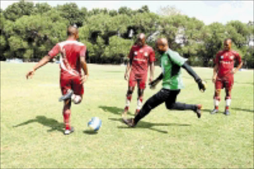 SHARPENING CLAWS: Moroka Swallows were hard at training yesterday at Germiston Stadium. They face Bidvest Wits in the Telkom Knockout this weekend. Pic. Mohau Mofokeng. 22/10/2008. © Sowetan.