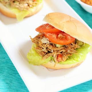 Indian Spiced Shredded Chicken Salad Sandwich.