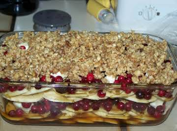 LAYERED SWEET POTATO AND CRANBERRY CASSEROLE