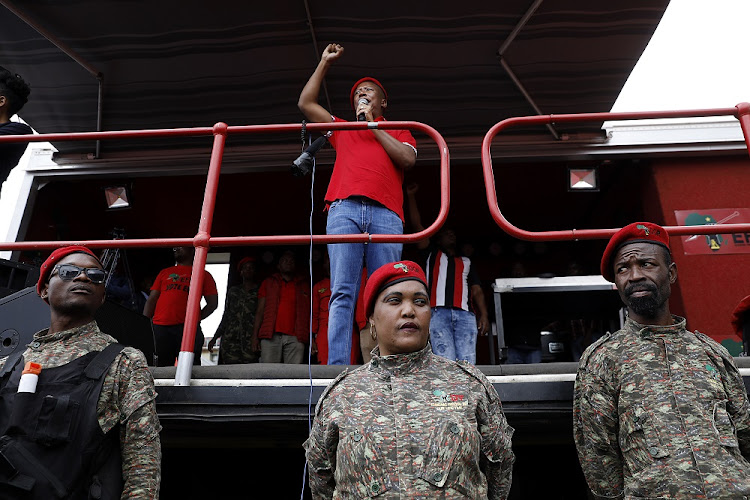EFF leader Julius Malema addresses party supporters gathered outside the Zondo commission of inquiry into state capture in Parktown, Johannesburg. It was here that he singled Ranjeni Munusamy out for criticism.