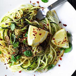 Spicy Lentil Mushroom Sauce Over Zucchini Noodles [Vegan].
