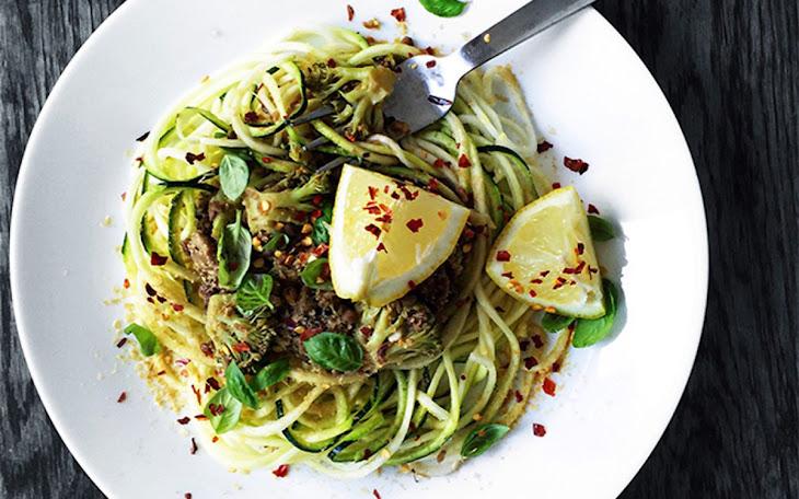 Spicy Lentil Mushroom Sauce Over Zucchini Noodles [Vegan] Recipe