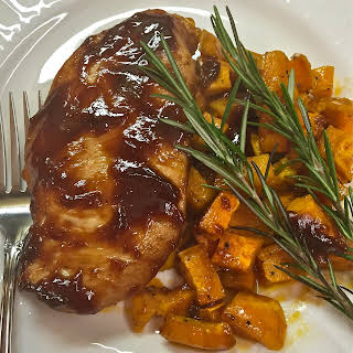 Barbecue Chicken and Roasted Sweet Potatoes.
