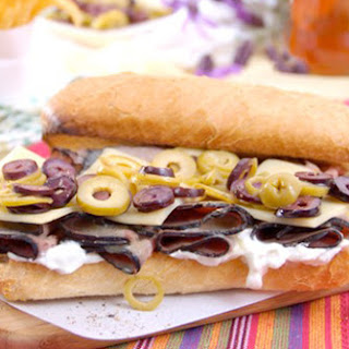 Roast Beef Sandwich with Sliced Olives & Horseradish