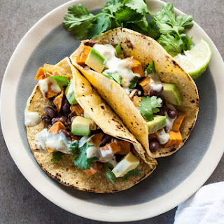 Sweet Potato and Black Bean Tacos with Avocado Crema.