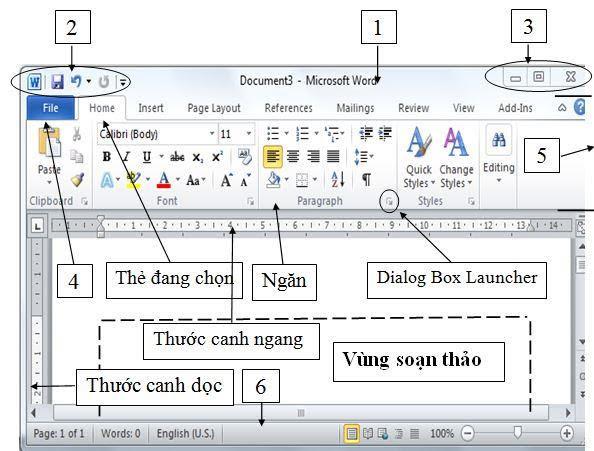 Giới thiệu về các thành phần trong phần mềm Word