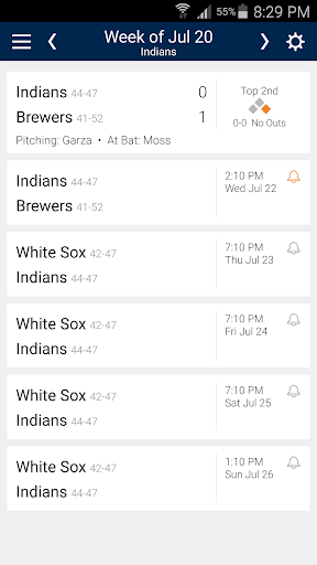 Baseball Schedule for Indians