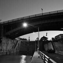 The locks at dusk by Thomas Fitzrandolph - City,  Street & Park  Historic Districts ( canals, erie canal, black and white, niagara county ny, nikon d5200, canal locks, lockport ny,  )