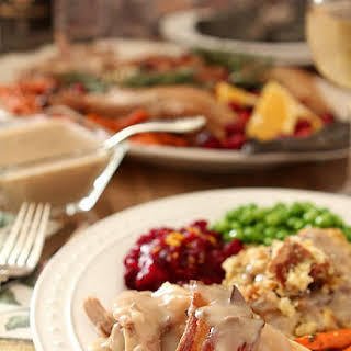 Maple-Roasted Turkey with Sage, Smoked Bacon, and Cornbread Stuffing.