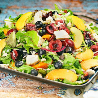 Easy Mixed Green Salad with Fruit & Chicken.