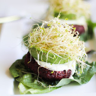 Indian-Spiced Beet Burgers with Lemon-Dill Yogurt Sauce.