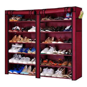 Dulap de pantofi textil dublu, 12 rafturi, 36 de perechi de incaltaminte