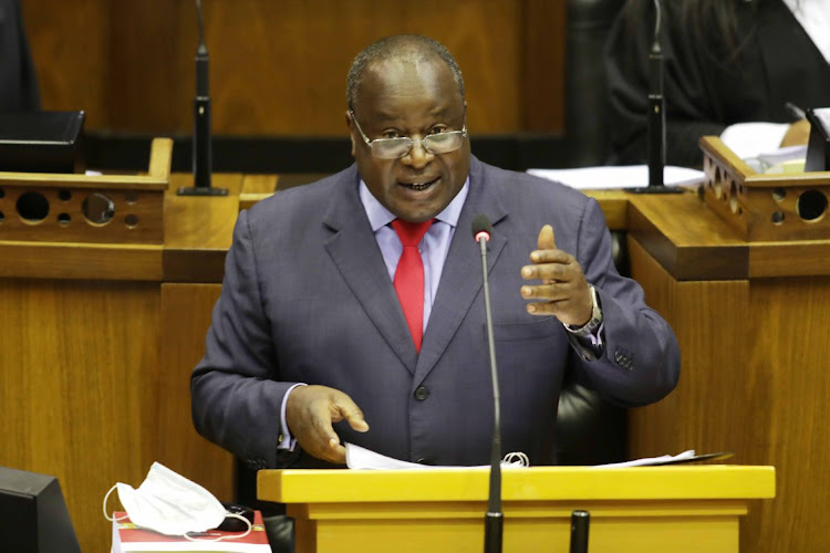 Finance minister Tito Mboweni delivers his 2021 budget speech in parliament in Cape Town on February 24 2021. Picture: SUNDAY TIMES/ESA ALEXANDER​