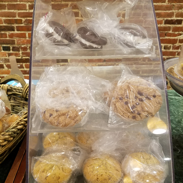 GF whoopie pies, chocolate chip cookies and lemon poppyseed muffins. The muffins are $3.25 each and are very good.
