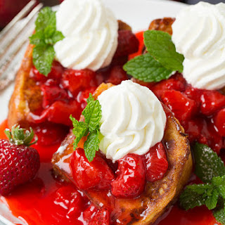 Angel Food Cake French Toast with Fresh Strawberry Syrup.