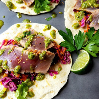 Marinated Ahi Tuna Tacos.