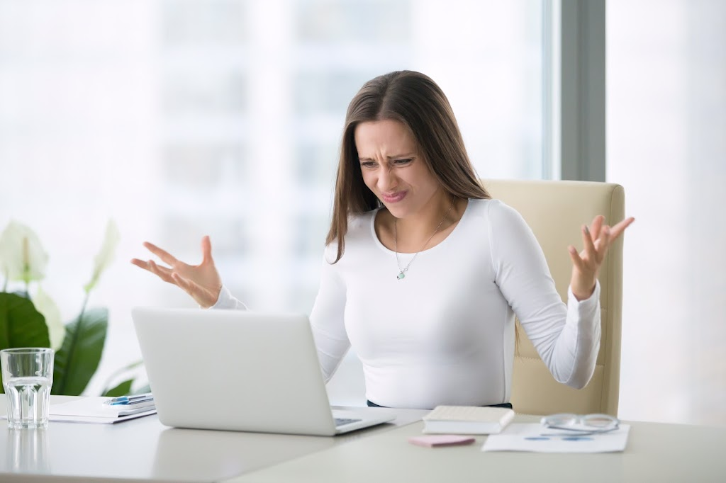 Woman frustrated with information online