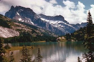 Photo: 51. Lyman Lake and Bonanza Peak. Bonanza is the second highest non-volcanic peak in the entire Cascade Range (951 I feet).