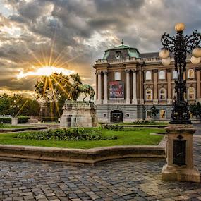 Behind budim castle by Peter Zajfrid - City,  Street & Park  Historic Districts ( budim castle, hungary, budapest, sky, sunset, sun )