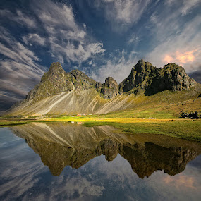 Tranquillity  by Þorsteinn H. Ingibergsson - Landscapes Mountains & Hills ( clouds, reflection, iceland, mountain, sky, nature, structor, landscape )