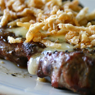 Garlic Rubbed Steak with Blue Cheese & French Fried Onions