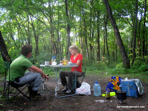 Photo: Preparing dinner at our last campsite: a surprisingly bugless oak forest 200 looong km north of Vladivostok