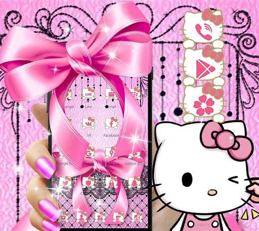 Pink Kitty Silken Bowknot Theme 1.1.1 screenshots 2