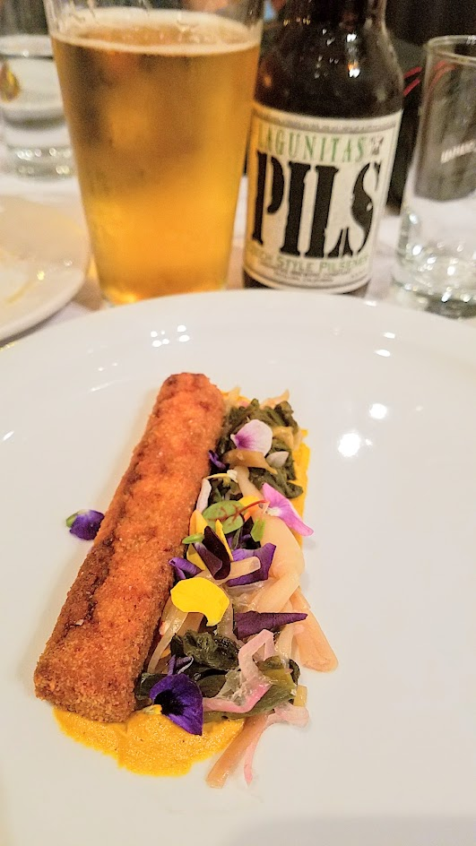Feast Portland 2016 Twisted Filipino Dinner Abobong Pato: duck adobo croquette, roasted eggplant custard, pickled ramps, chicharron paired with Lagunitas Pils