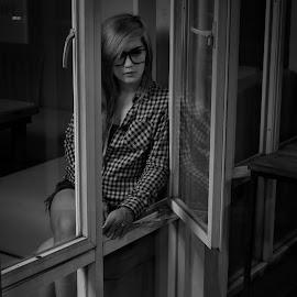 Lonely by Mardi Tri Junaedi - Black & White Portraits & People ( #alone, #night, #beautiful )