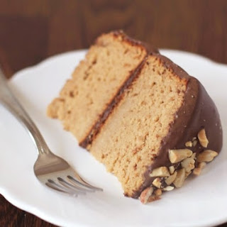 Healthy Peanut Butter Cake with Chocolate Frosting.
