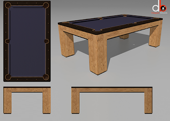 four animated views of USA Spartan Pool Table Concept