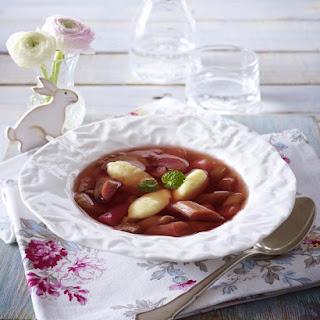 Chilled Rhubarb Soup with Semolina Dumplings.