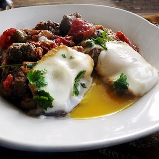 Moroccan Kefta and Eggs Tagine.
