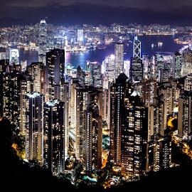 Hong Kong by David Long - City,  Street & Park  Skylines