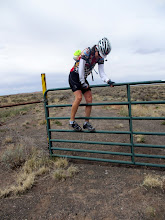 Photo: Eleonore is climbing a fence to leave the park