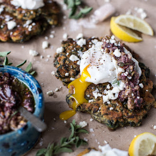 Greek Feta Chickpea Pancake Fritters with Poached Eggs + Olive Tapenade.