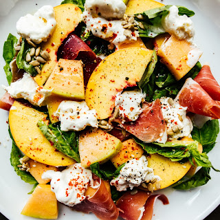 Peach Melon Basil and Burrata Salad.