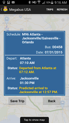 Megabus USA screenshot