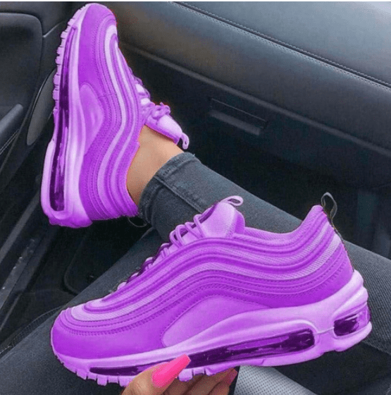 purple sneakers for color blocking