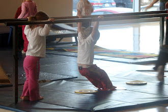 Photo: Emmy Gym - - Emmy is enjoying her gymnastics class - here she is, doing something highly skilled, I['m sure