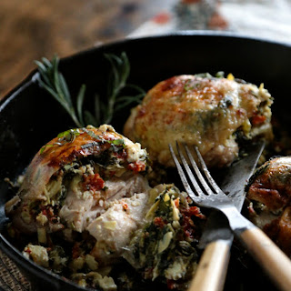 30 Minute Sun Dried Tomato Spinach Stuffed Chicken Thighs.