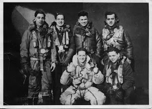 Photo: A Lancaster bomber had a crew of seven. Donald was the pilot and the captain. His initial crew: (back row) Joe Taylor, gunner; Trevor Williams, flight engineer; DCP, Jean-Louis Viau, bomb-aimer; and in front, Jock Lochrie, rear gunner, and Ralph Franks, wireless operator. The 7th person, John Smith, the navigator, presumably took the photo.