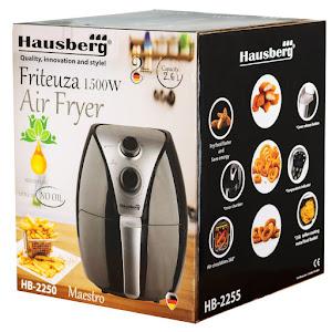 Friteuza Air Fryer Hausberg HB 2250, 1500 W, 2.6 L, Timer, Argintiu/Negru