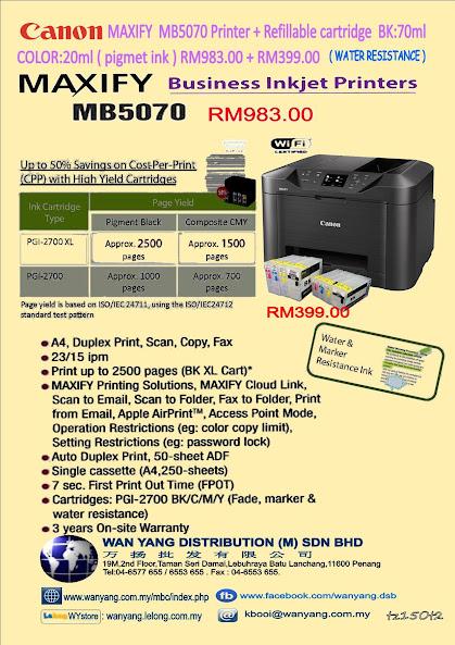 CANON MAXIFY MB5070 Printer + Refillable Inkjet cartridge
